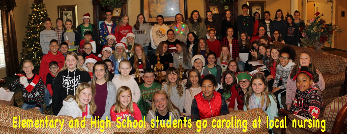 Elementary and High school caroling at local nursing home