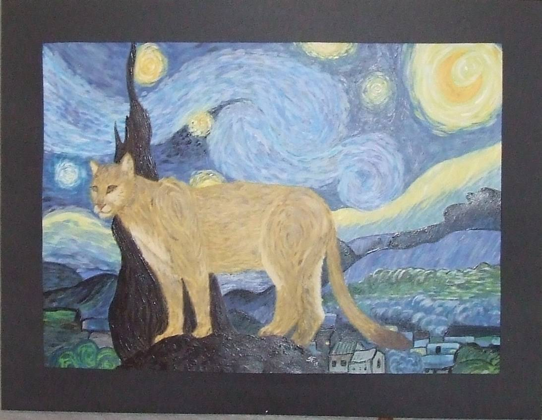 cougar under a starie sky
