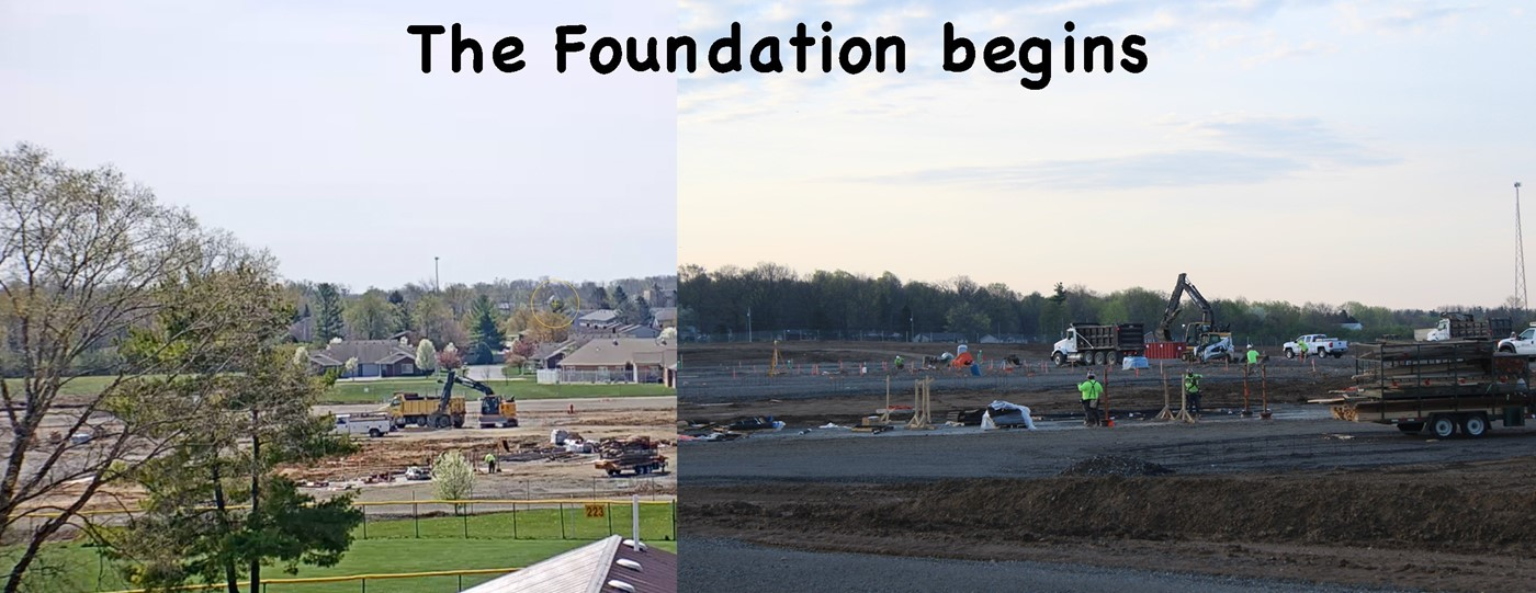 The building's foundation is started